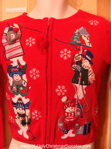 Child Size Red Ugly Christmas Sweater Stacked Snowmen