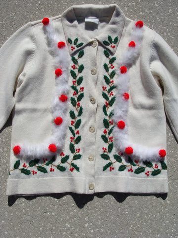 Ugly Christmas Sweater Cardigan with Green Red Ivy