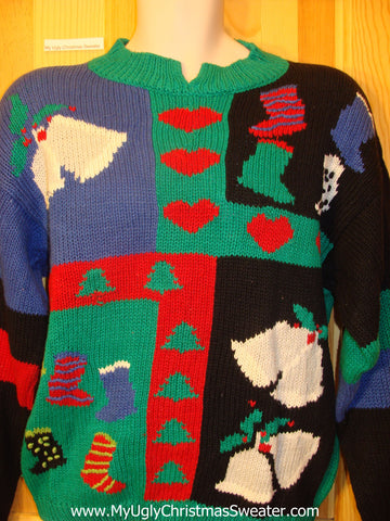 Ugly Christmas Sweater 80s Cheesy Horrible Pullover