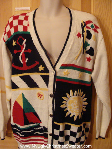 Cheap Ugly Nautical Themed Summer Sweater Cardigan