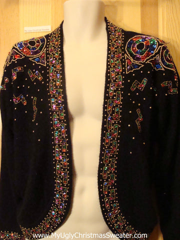 Ugly Christmas Sweater Jacket Crazy Bling