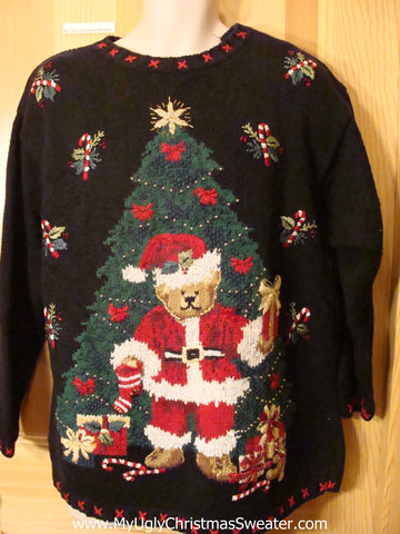 Ugly Christmas Sweater 80s Bear and Tree