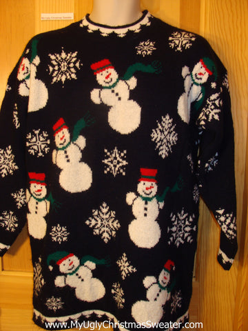 Ugly Christmas Sweater 80s Cheesy Snowmen
