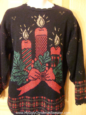 Ugly Christmas Sweater 80s Candles Plaid Trim