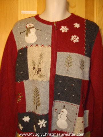 Tacky Ugly Christmas Sweater with Grid Boxes with Snowmen, Trees, and Snowflakes (f221)