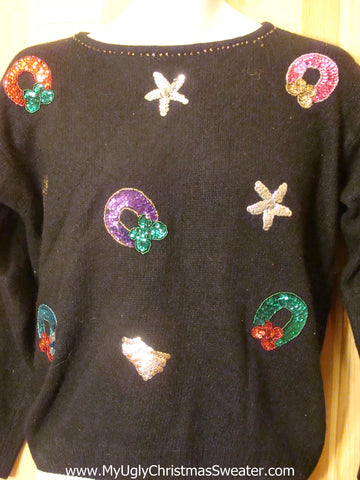 Cheap Ugly Christmas Sweater with Sequin Bling Wreaths