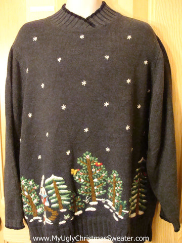 Ugly Christmas Sweater Pullover with Forest of Trees