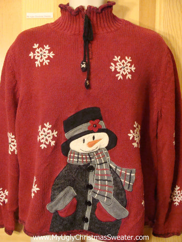 Ugly Christmas Sweater Huge Snowman and Geometric Snowflakes