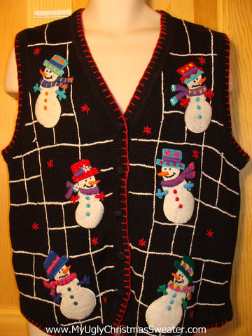 Tacky Ugly Christmas Sweater Vest with Snowmen in a Web Grid  (f222)
