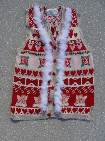Pink and Red Ugly Christmas Sweater Vest Angels and Hearts
