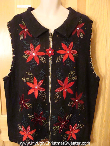 Ugly Christmas Sweater Vest Poinsettias  XXXL 4XL