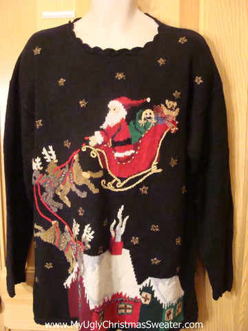 Ugly Christmas Sweater Santa and Reindeer Flying at Night