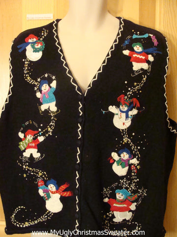 Ugly Christmas Sweater Vest with Tumbling Snowman