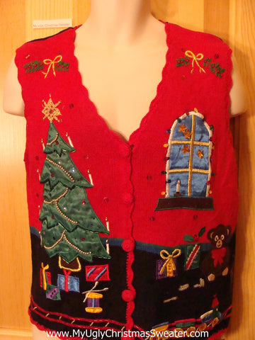 Ugly Christmas Sweater Vest Satin Tree and Windo