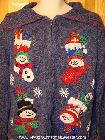 Tacky Ugly Christmas Sweater with Four Happy Carrot Nosed Festive Snowmen (f223)