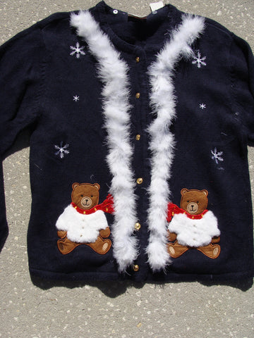 Ugly Christmas Sweater with Cheesy Bears and Snowflakes