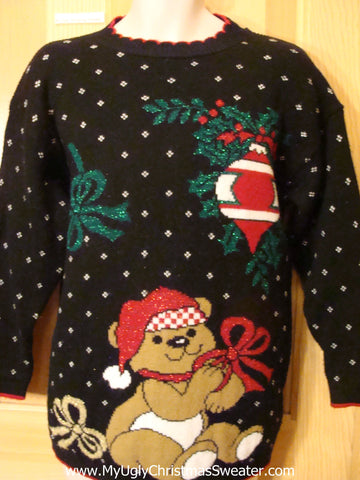 Ugly Christmas Sweater 80s Cheesy Bear and Bow