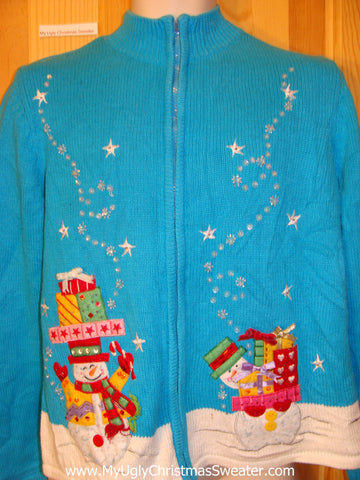 Baby Blue Bling Snowmen Ugly Christmas Sweater