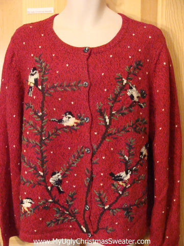 Ugly Christmas Sweater Birds and Tree Branches