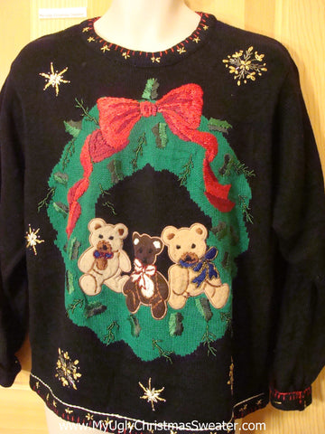 Ugly Christmas Sweater with Wreath and Teddy Bears
