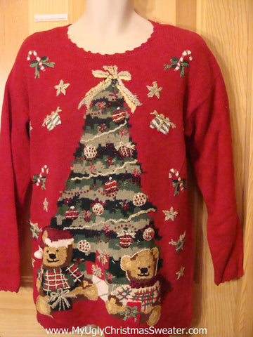 Ugly Christmas Sweater with Tree, Bears and Scalloped Trim