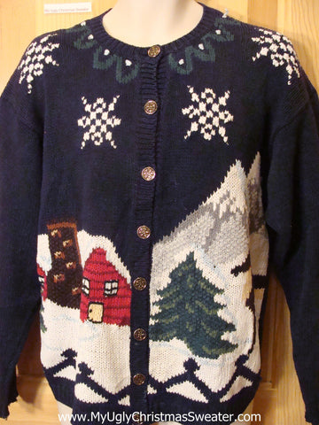 Ugly Christmas Sweater Winter Town with Fence