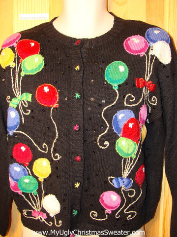 Tacky Ugly Christmas Sweater 'Happy New Year' Balloons (f225)
