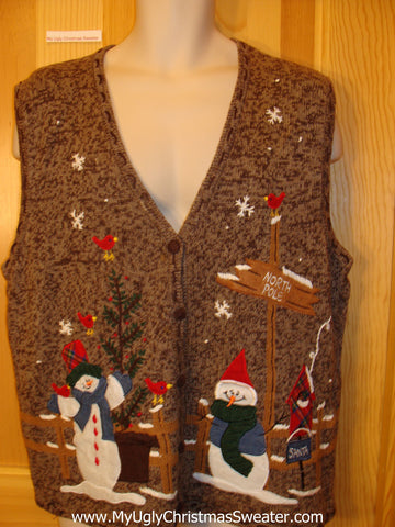 Ugly Brown Christmas Sweater Vest with Snowman