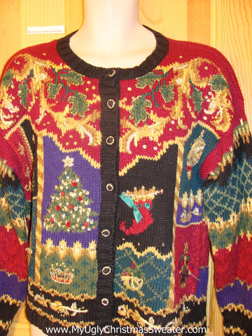 Ugly Christmas Sweater 80s Crazy Mess