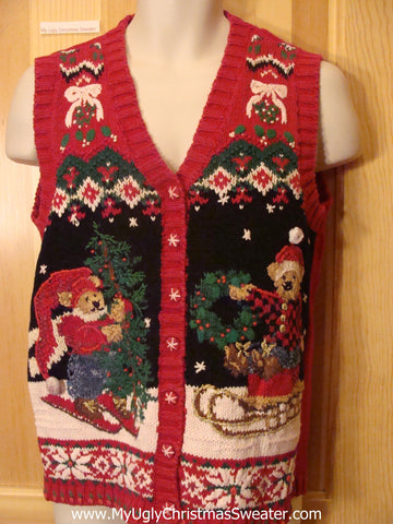 Ugly Christmas Sweater Vest Skiing Bears