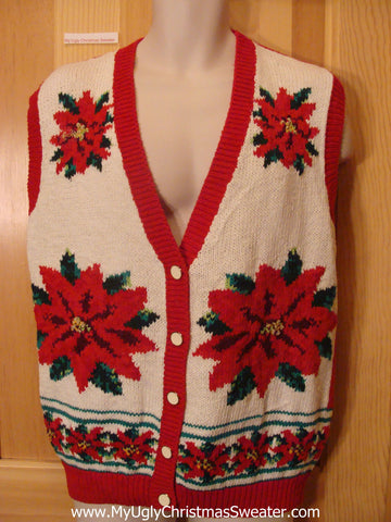 Ugly Christmas Sweater Vest with Red Poinsettias