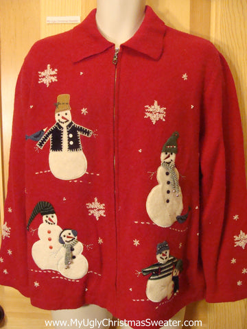 Ugly Christmas Sweater with Carrot Nosed Snowmen