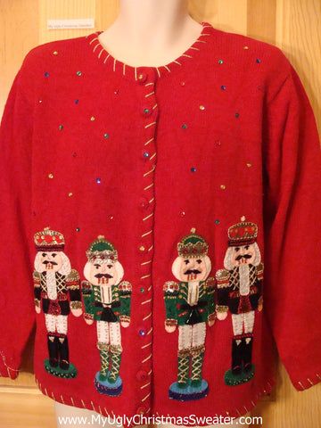 Ugly Christmas Sweater Nutcrackers with Bling