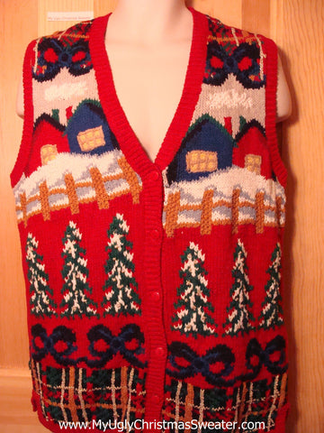 Tacky Ugly Christmas Sweater Vest 80s Festive Trees Bows Winter-Scene (f226)
