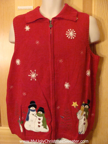 Ugly Christmas Sweater Vest with Snowmen and Snowflakes