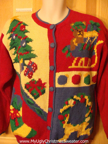 Ugly Christmas Sweater 80s Yellow, Red, and Blue
