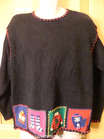 Cheap Ugly Christmas Sweater Pullover with Red Embroider Trim