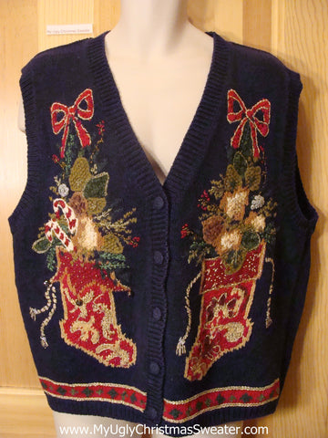 Ugly Christmas Sweater Vest with Festive Stockings