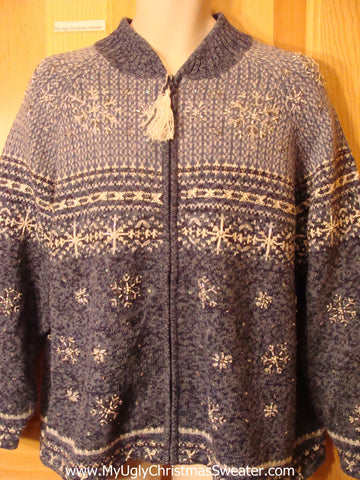 Ugly Christmas Sweater Nordic 2sided Snowflakes