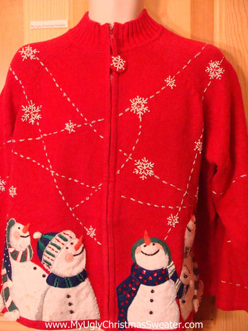 Ugly Red  Christmas Sweater Snowmen and Snowflakes
