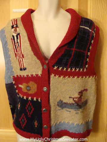 Ugly Old West Sweater Vest with Indian and Uncle Sam