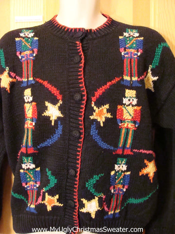 Ugly Christmas Sweater 80s with Huge Nutcrackers