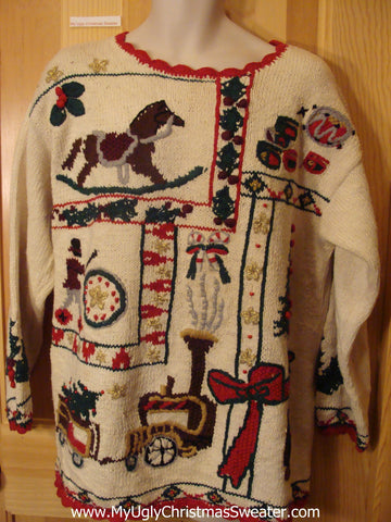 Ugly Christmas Sweater 80s Rocking Horse Train