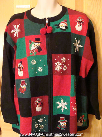 Ugly Christmas Sweater Pom Pom Zip and Snowmen