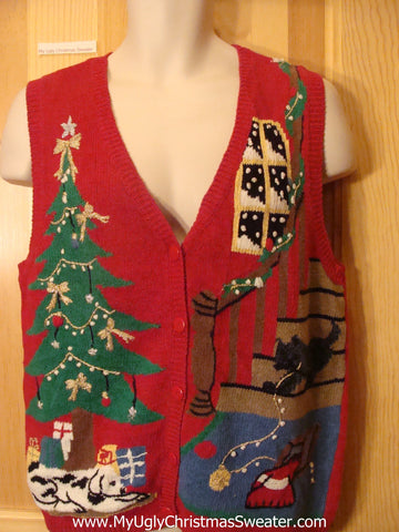 Crazy Cat or Dog Lady Ugly Christmas Sweater Vest