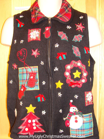 Tacky Ugly Christmas Sweater Vest with 3D Buttons & Bows (f229)