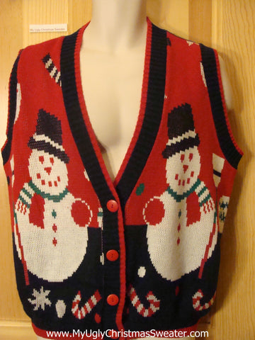 Ugly Christmas Sweater Vest 80s Snowmen Candycanes