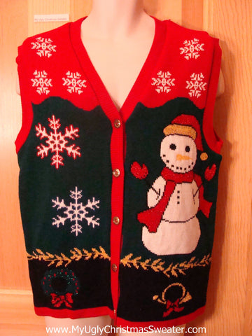 Ugly Christmas Sweater Huge Colorful Snowman Vest