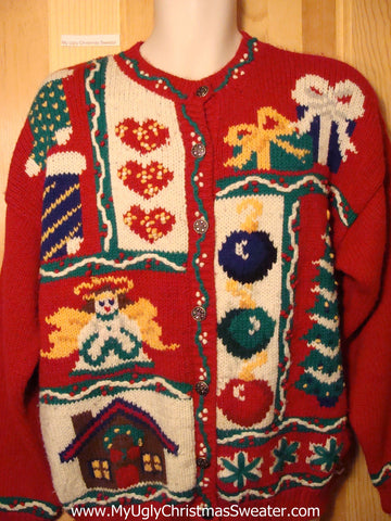 Tacky Ugly Christmas Sweater 80s with Padded Shoulders Classic (f230)