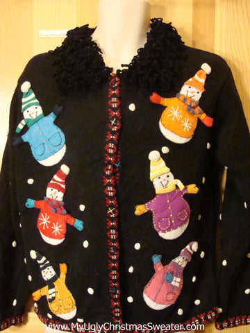 Ugly Christmas Sweater Wobbly Snowmen Furry Collar